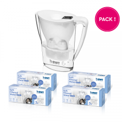 1 an Soft Filtered Water Extra pack + penguin blanc